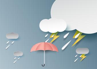 Umbrella,rain,cloud and thunderbolt on rainy season background paper art style.Vector illustration.