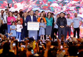 Presidential candidate Duque speaks to supporters after winning the presidential election in Bogota