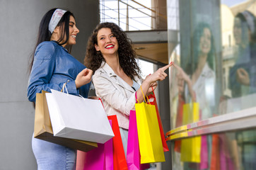 Two young girls with shopping bags pointing to shop window