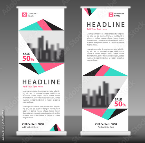 roll up banner template vector stand pull up display flag banner