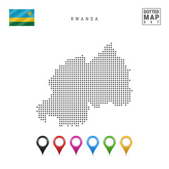 Vector Dotted Map of Rwanda. Simple Silhouette of Rwanda. The National Flag of Rwanda. Set of Multicolored Map Markers