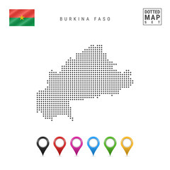 Dots Pattern Vector Map of Burkina Faso. Stylized Map of Burkina Faso. Flag of Burkina Faso. Multicolored Map Markers
