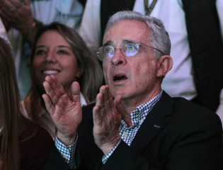 Former Colombian President Uribe reacts after right wing candidate Duque won the presidential election in Medellin Colombia
