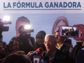 Former Colombian President Uribe speaks to members of the media after right wing candidate Duque won the presidential election in Medellin Colombia