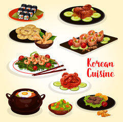 Korean cuisine menu icon of meat and seafood dish