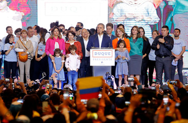 Presidential candidate Duque speaks to supporters after he won the presidential election in Bogota