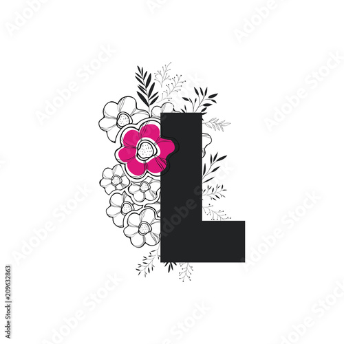 Letter L With Handmade Font And Floral Decoration Vector