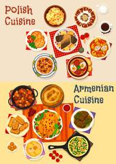 Polish and Armenian cuisine dinner menu icon