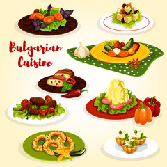 Bulgarian cuisine dinner dish with dessert icon