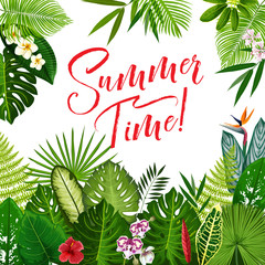 Summer Time poster with tropical flower and palm