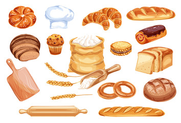 Bread watercolor icon of bakery and pastry food