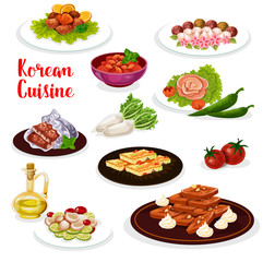 Korean cuisine icon of seafood and vegetable dish