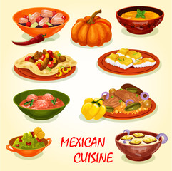 Mexican cuisine icon with traditional food