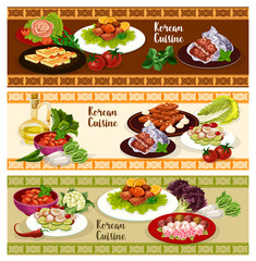 Korean cuisine food banner for asian restaurant