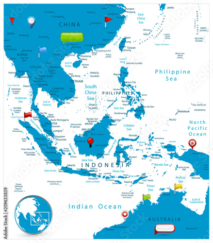 Map Of China And Southeast Asia.Southeast Asia Map And Glossy Icons On Map Stock Image And Royalty