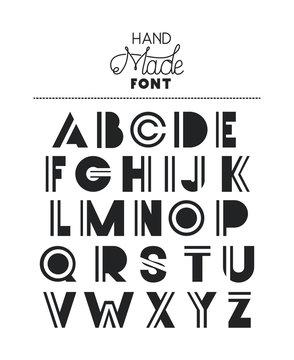 hand made font alphabet vector illustration design