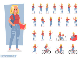 Vector set of students young woman character design. no8