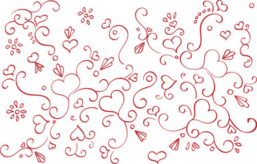 Swirls and Hearts Pattern