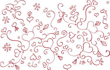 Swirls and Hearts Pattern