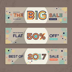 Sale banners design set. Big sale, Discount and best sale banners in modern typography with abstract elements.