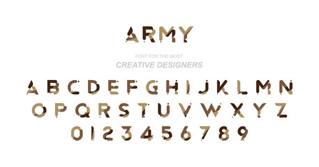 Original font a set of letters and numbers in camouflage for creative design template. Flat illustration EPS10