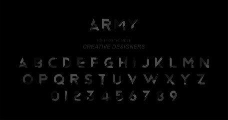 Original font a set of letters and numbers in dark camouflage for creative design template. Flat illustration EPS10