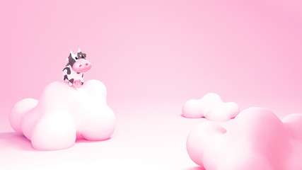 Cartoon cow and pink clouds. 3d rendering picture.