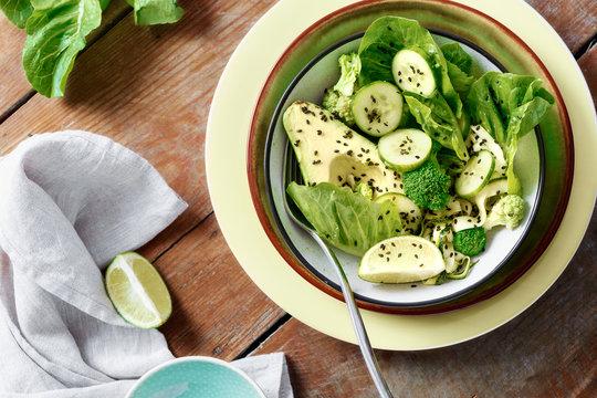 Bowl summer vegetable green salad top view