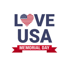 Memorial day USA greeting card wallpaper, national american flag with stars love on white background, template, flat design vector illustration
