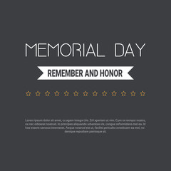 Memorial day USA greeting card wallpaper, yellow stars on dark background, copy space, flat design, vector illustration