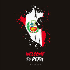 Welcome to Peru. Flag and map of the country