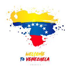 Welcome to Venezuela. Flag and map of the country