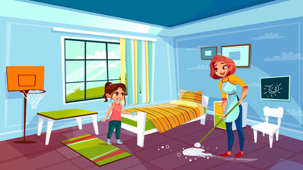 Mother and daughter cleaning room vector illustration of woman together with girl help mopping or wiping floor from spilled water. Flat cartoon modern kid bedroom with bed and furniture