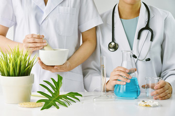 Modern and traditional medical, Alternative organic herbal drug and chemical medicine, Integrating various treatment healthcare.