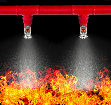Image of pendent fire sprinkler on white background (with cliiping path). Fire sprinklers are part of an overall safety protocol for fire and life safety.
