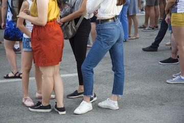 Girls legs posing to the photographer