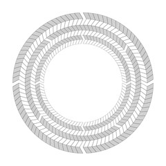Round frame of  black and white herringbone border. Object separate from background.  Vector template for greeting cards, invitatons and your creativity