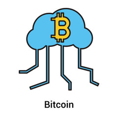 Bitcoin icon vector sign and symbol isolated on white background, Bitcoin logo concept
