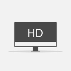 HD tv vector icon high definition television with shadow eps10