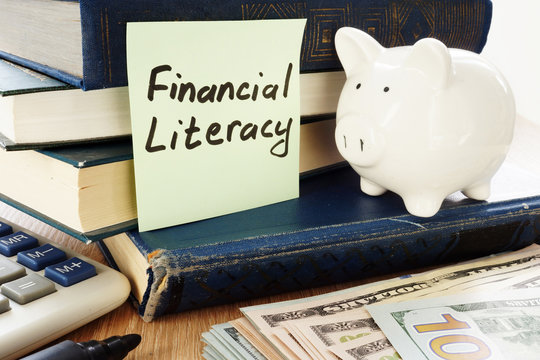Financial Literacy written on a stick and piggy bank as savings symbol.