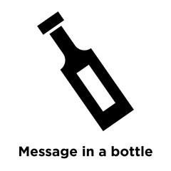 Message in a bottle icon vector sign and symbol isolated on white background, Message in a bottle logo concept, outline symbol, linear sign