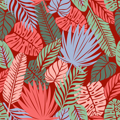 Doodle Hand Drawn Tropical Pattern with Leaves on Dark Background.
