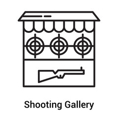 Shooting Gallery icon vector sign and symbol isolated on white background, Shooting Gallery logo concept, outline symbol, linear sign