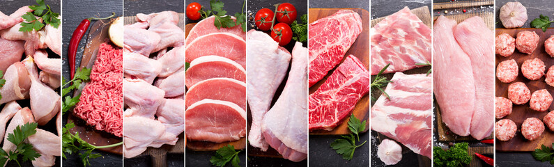 Autocollant pour porte Viande food collage of various fresh meat and chicken