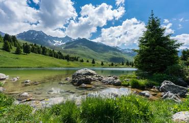 Wall Mural - idyllic mountain lake landscape in the Swiss Alps