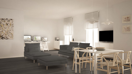 Scandinavian contemporary living room open space with dining table, sofa and chaise longue, office, home workplace with computers, minimal modern white and gray interior design