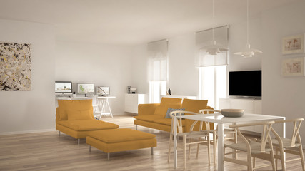 Scandinavian contemporary living room open space with dining table, sofa and chaise longue, office, home workplace with computers, minimal modern white and yellow interior design