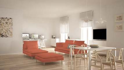 Scandinavian contemporary living room open space with dining table, sofa and chaise longue, office, home workplace with computers, minimal modern white and red interior design
