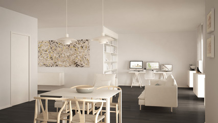 Nordic minimalist living room open space with dining table, sofa, corner office, home workplace with computers, contemporary modern white and gray interior design