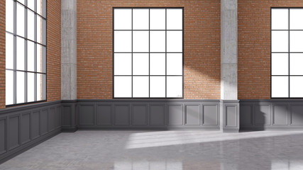 Modern loft interior design ,empty room,brick wall with black windows and concrete floor,3d render